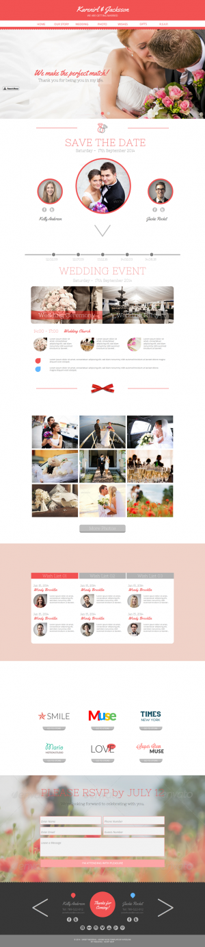 Wedding is an beautiful Just Married Muse Template. It's even more beautiful on retina displays. ...