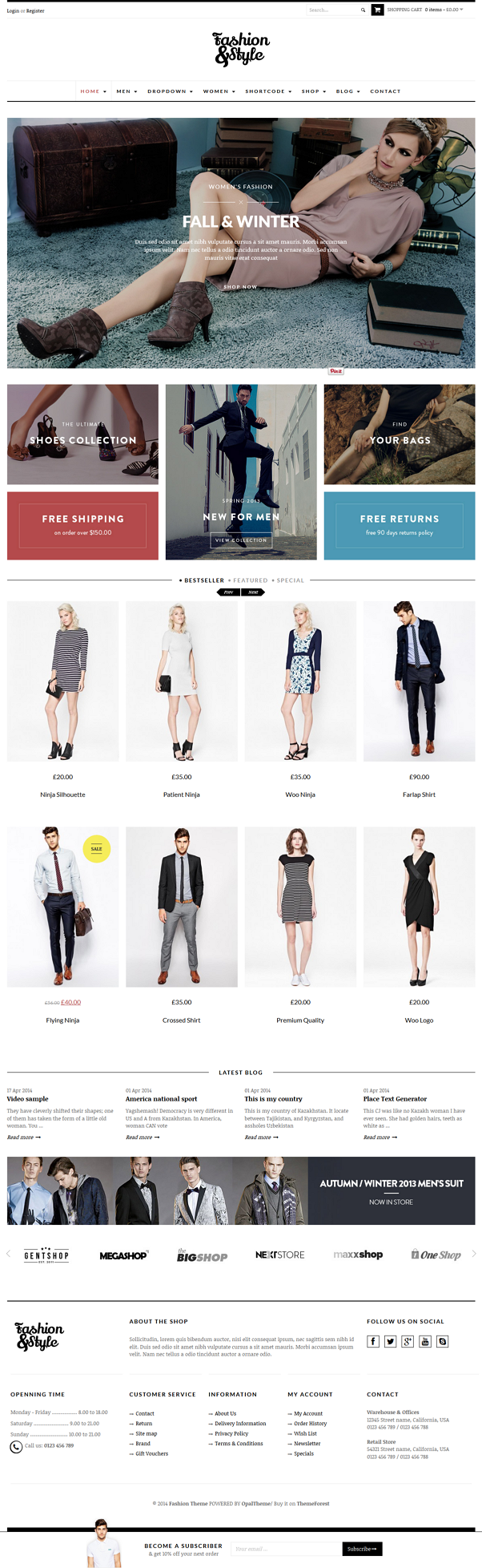 Fashion is a Woocommerce Responsive WordPress Template suitable for any kind of Fashion Shop, Mo ...