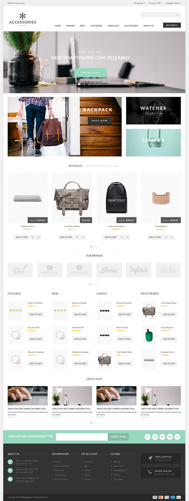 Accessories Responsive Magento Theme is clean and clear premium Magento theme and build your eCo ...
