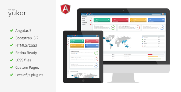 Yukon Admin is a clean HTML5/CSS3 web app based on AngularJS Framework, ui-router (routing frame ...