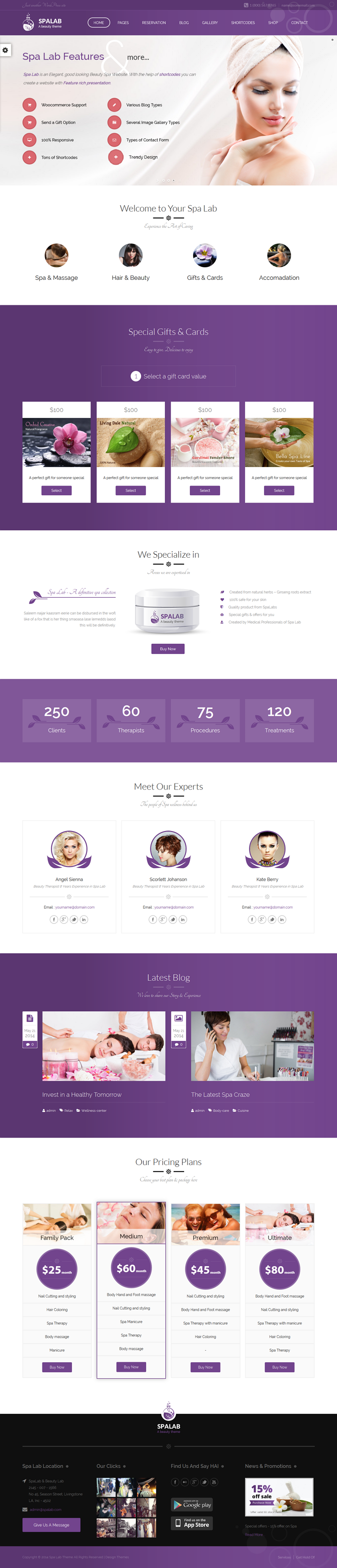 Spa Lab is a hand crafted Beauty Salon WordPress Theme for hair salons, wellness center, yoga /  ...