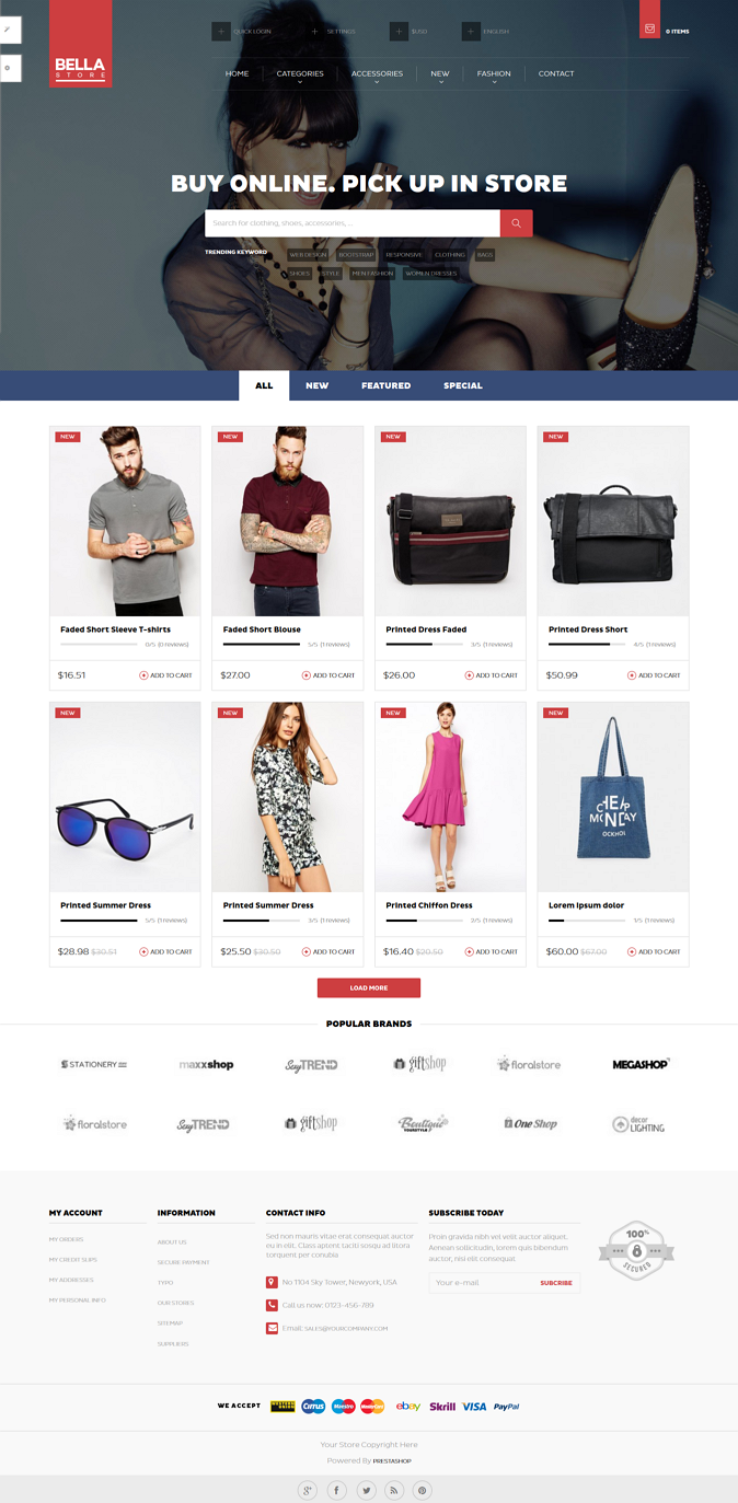 Pts Bellais a Prestashop responsive theme support multi-store.