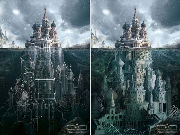Below the surface of the Russian buildings