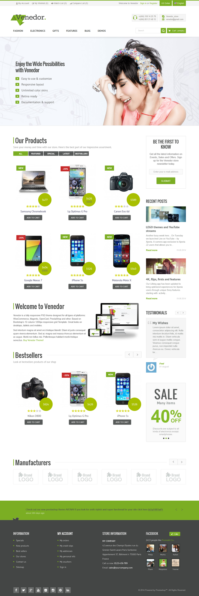 Venedor is an responsive Premium Prestashop Theme. This theme is a great solution for small and  ...