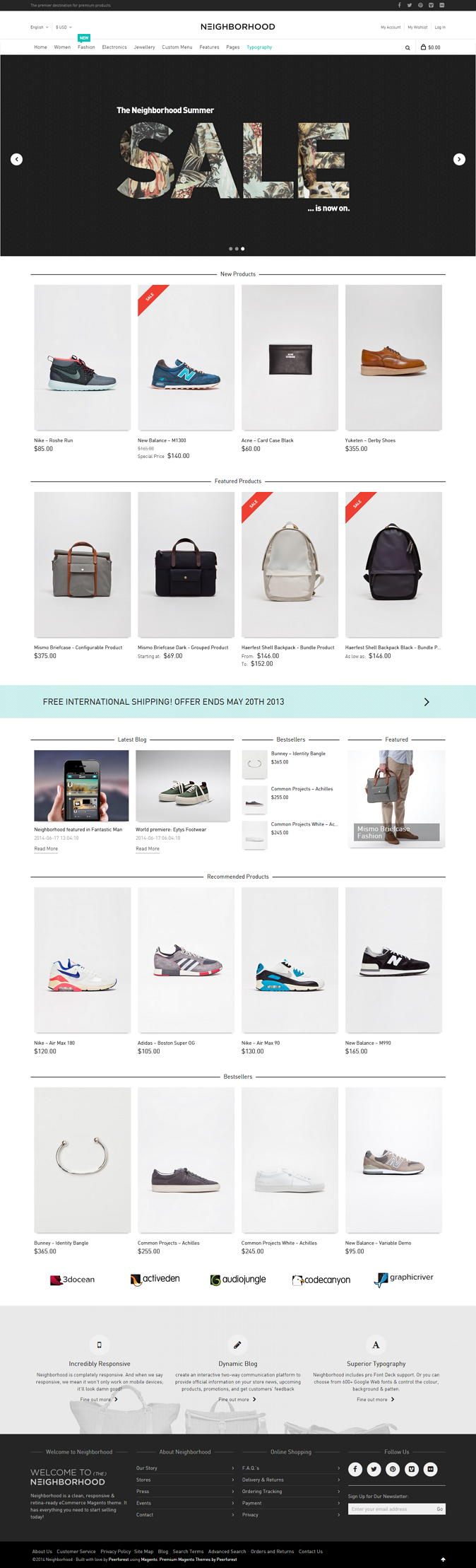 Neighborhood Magento Theme is suitable for Fashion, Clothing, Fragrance, Shoes, Makeup, Accessor ...