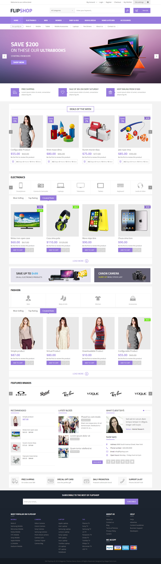 Flipshop is a multipurpose responsive magento theme that has everything you need for stores with ...