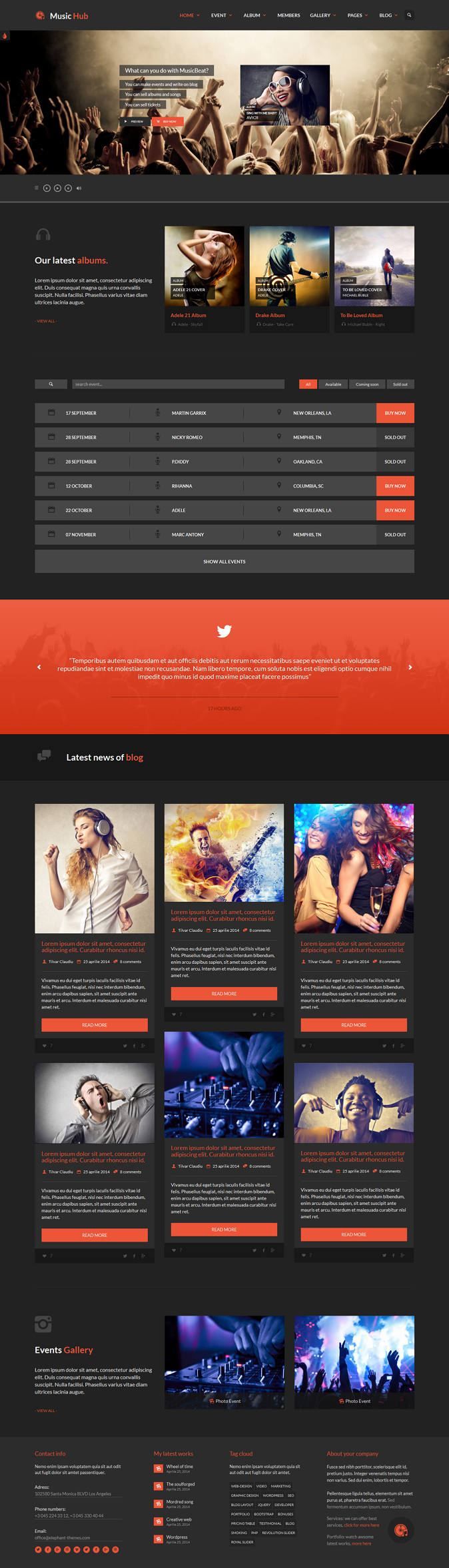 Music Hub is the best template for music, club, party, radio stations, bands, events or blogging ...