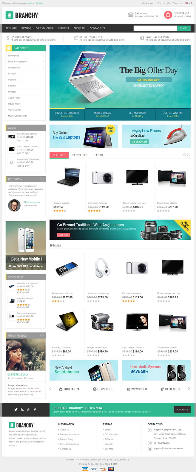Branchy Opencart Responsive Theme is designed for electronics, mobile, computer and multi purpos ...