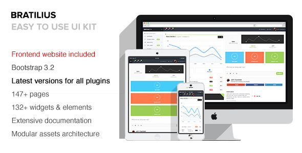 Bratilius is an Bootstrap Responsive Admin UI compatible with AngularJS and Bootstrap 3.x.
