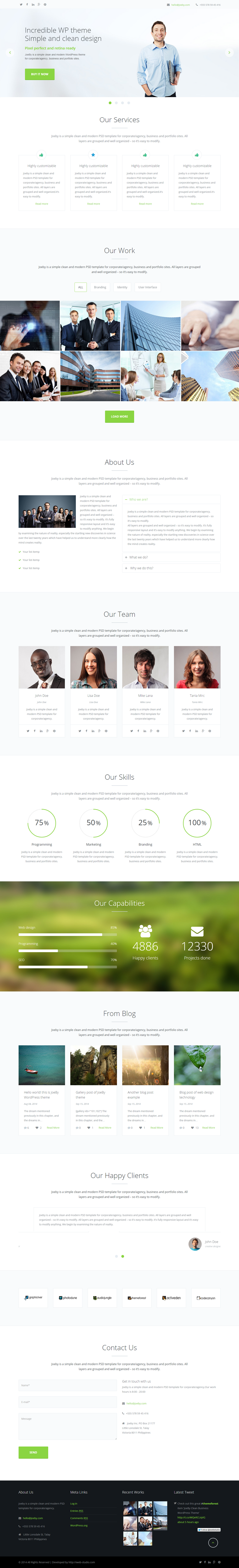 JoeBy is a fully responsive flexible and sleek WordPress theme for corporate/agency, Business an ...