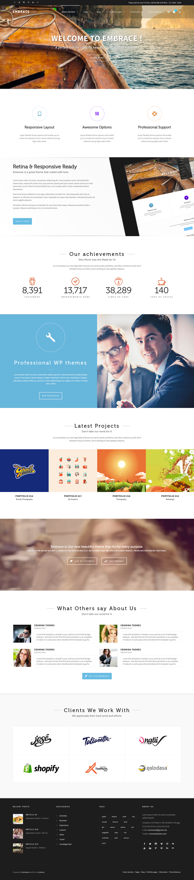 Embrace is multipurpose, powerful, responsive WordPress theme. It is equipped with endless optio ...