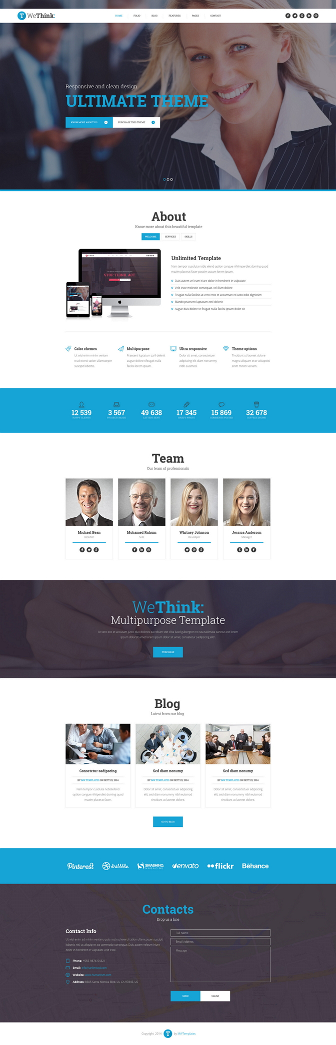 We Think is modern, clean and professionally crafted PSD template. It has 6 homepage layouts: De ...