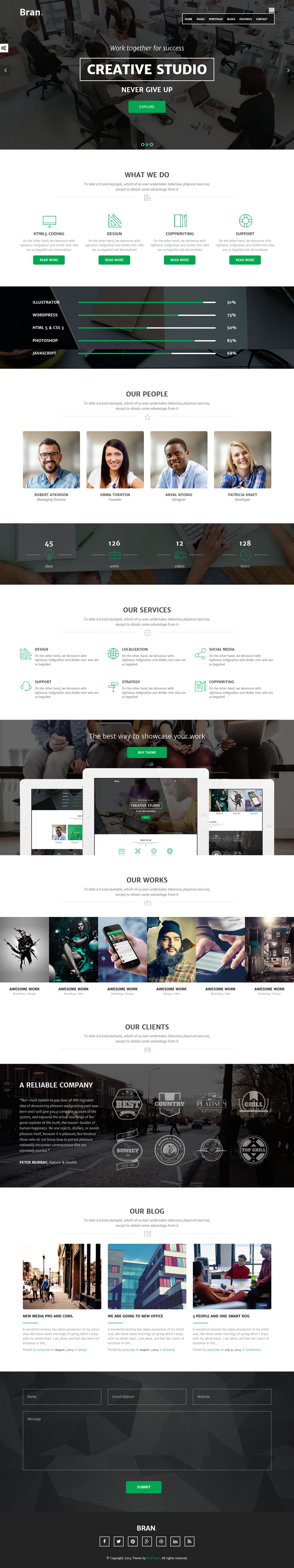 Bran is a Multi / One page WordPress Theme that fit any agency. If you have a creative design ag ...