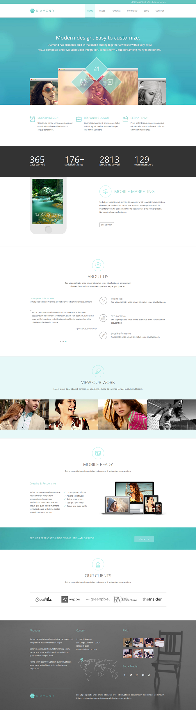 Diamond is an responsive Business WordPress Theme with clean and highly functional HTML template ...