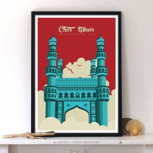 CHARMINAR. A beautiful monument from India, Typography char Minar monument posters.