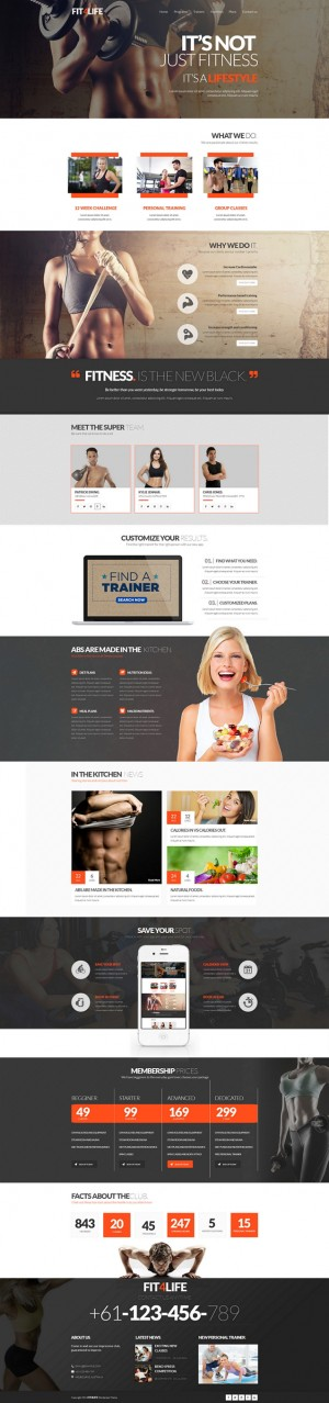 FIT4LIFE is an modern unique template designed for Gym/Fitness club. Fit4life is single design w ...
