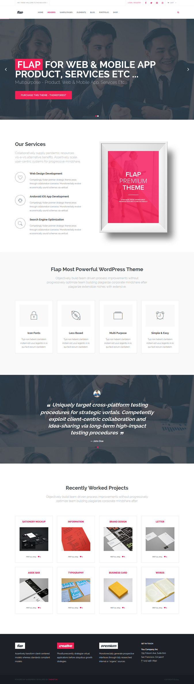 FLAP Business WordPress Theme is an multipurpose theme. This theme is perfect for any kind of we ...