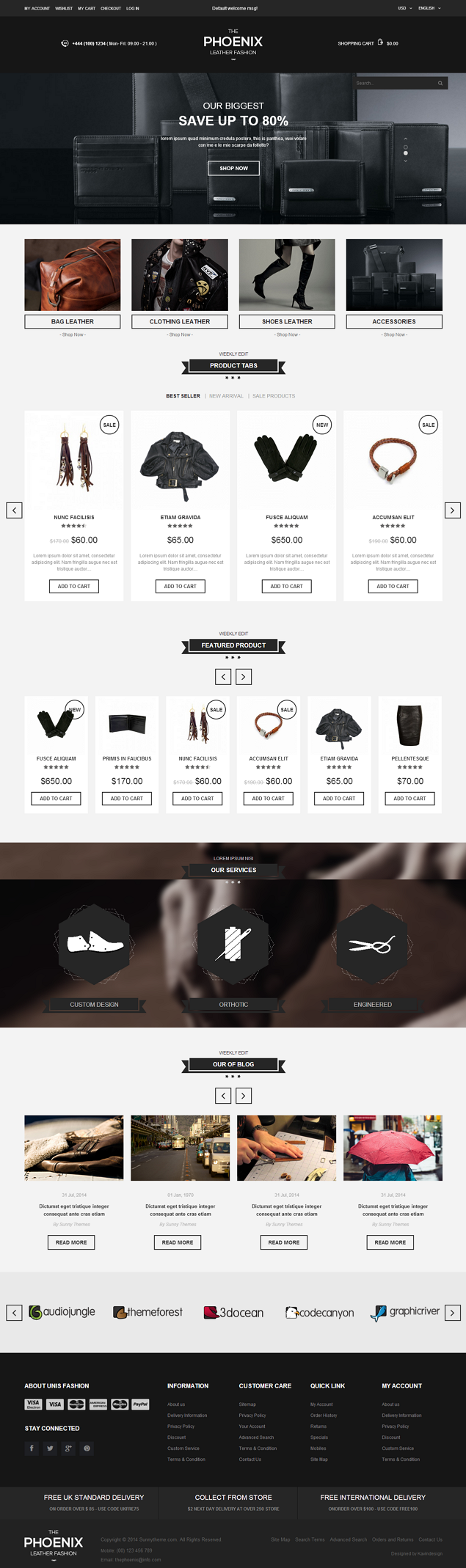 The Phoenix is a Premium Responsive Magento Theme. A super neat design, it has black&white s ...