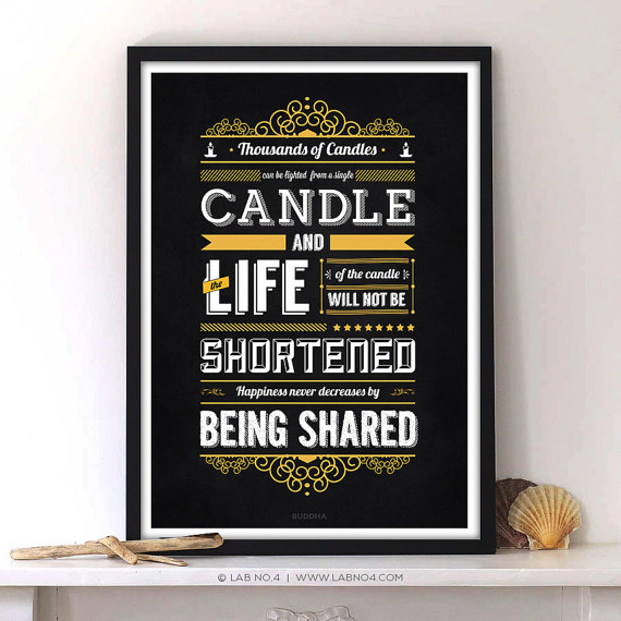 """ Thousands of candles can be lit from a single candle, and the life of the candle will no ..."