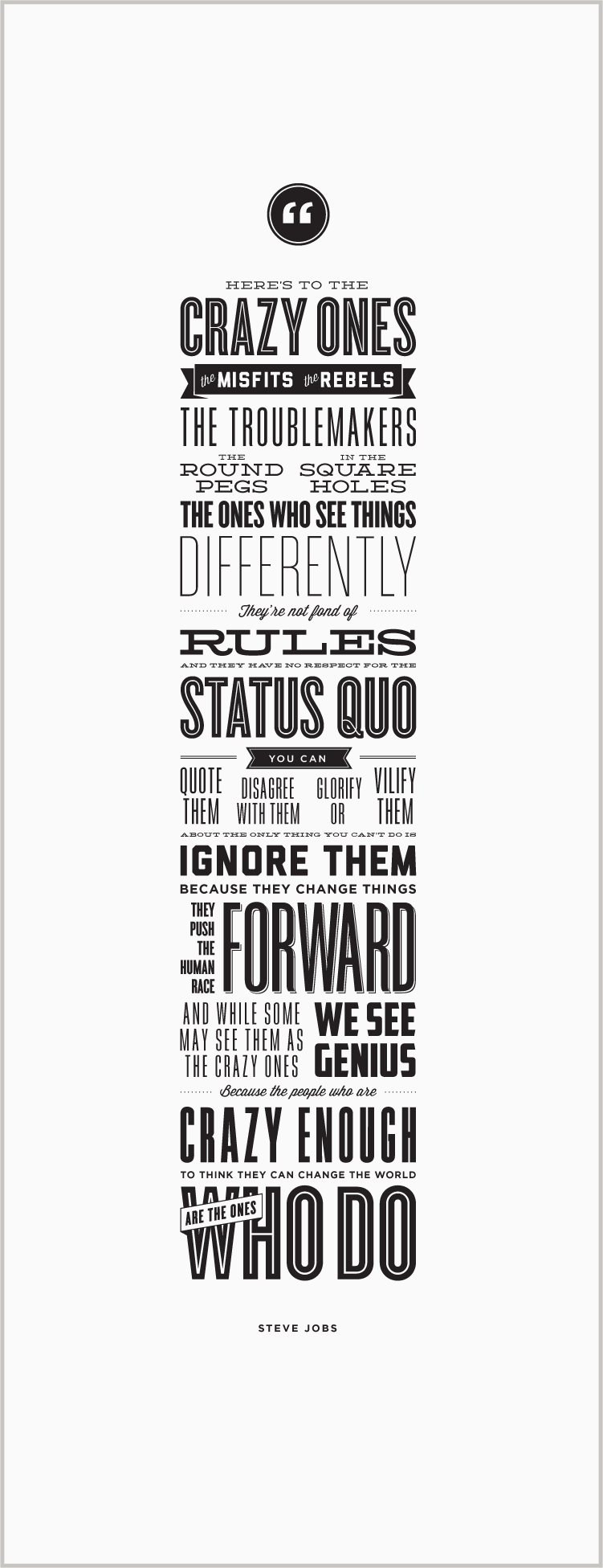 Here's to the Crazy Ones – Letterpress Poster – Steve Jobs