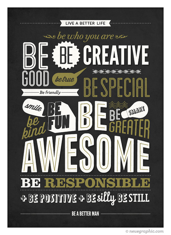 Motivational Typography Poster – Be kind Be greater Be awesome – Retro-style wall de ...
