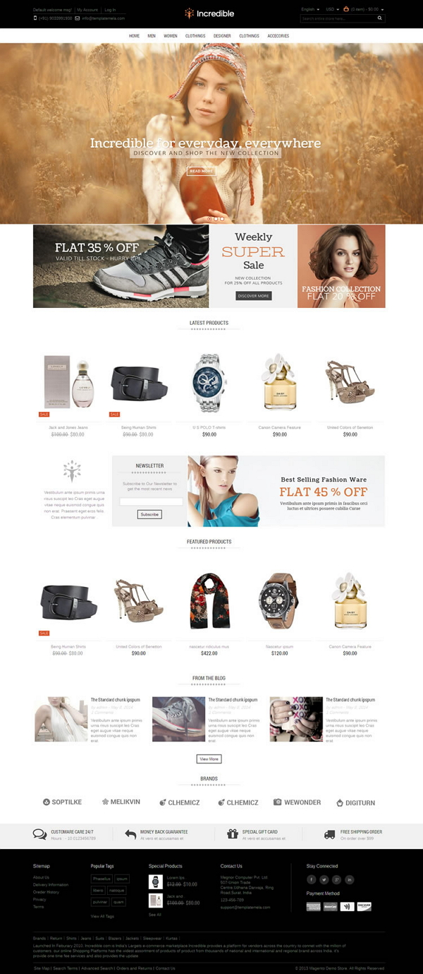 Incredible Magento Responsive Theme is designed for fashion designer, apparel, Shoes, beauty, wo ...