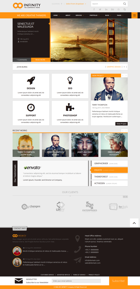 INFINITY is a multipurpose responsive WordPress theme packed with a wealth of retina-ready icons ...