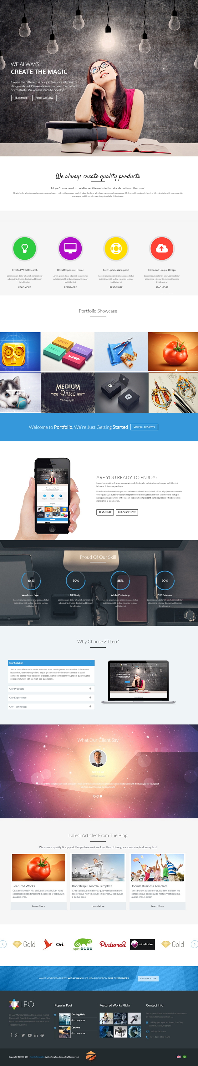 ZT Leo is an responsive Joomla Template. This theme is suitable for multiple purposes websites s ...