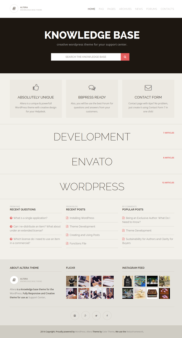 Altera is a Helpdesk/FAQ/Knowledge Base WordPress theme. Clean and intuitive design with a tons  ...