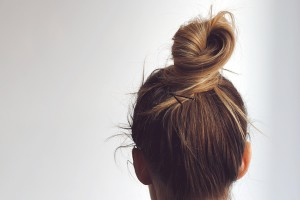 Love, Blair: wrapped topknot.