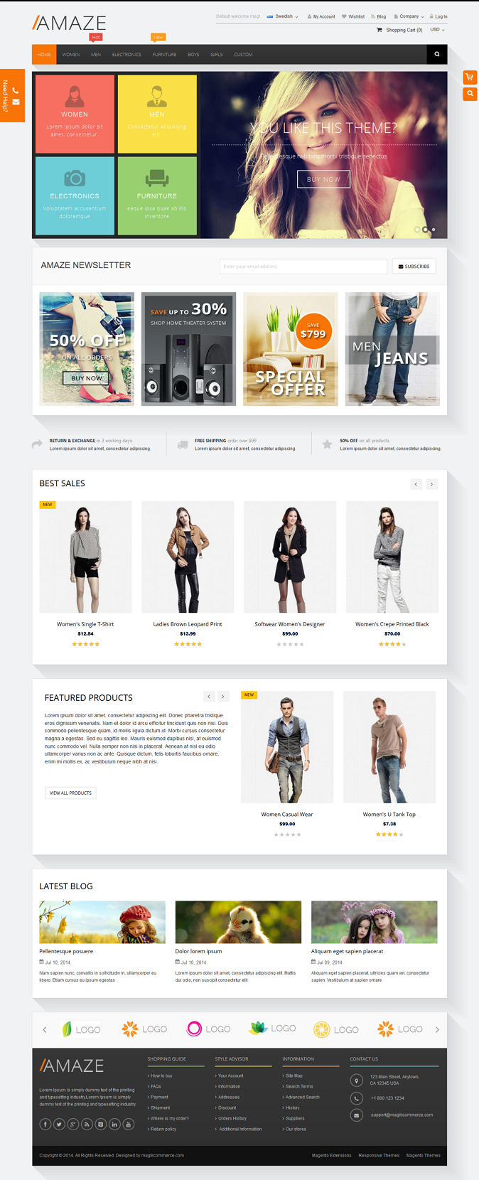 Amaze is a responsive multipurpose Magento theme which is fully customizable and suitable for an ...