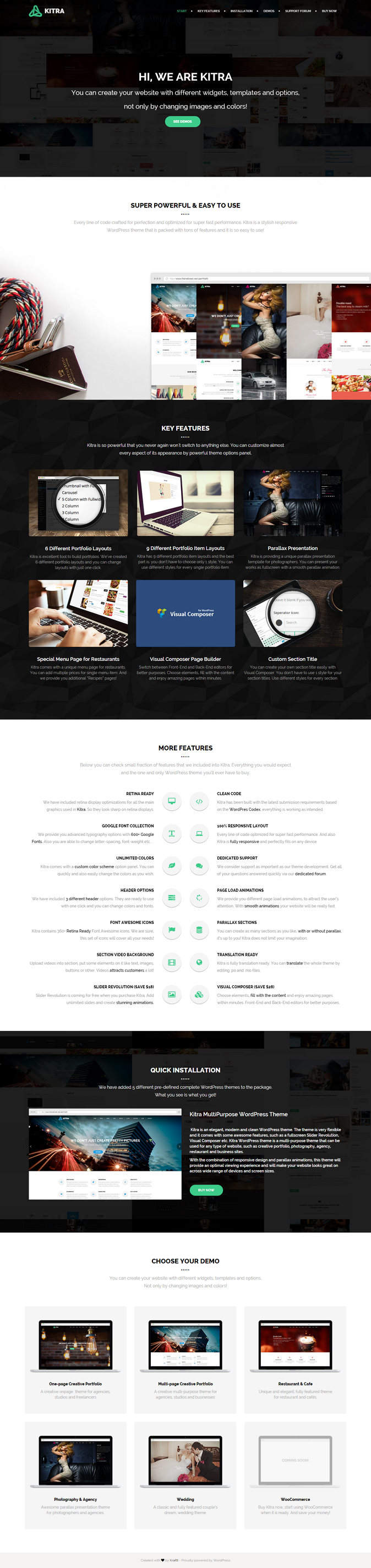 Kitra is a fully responsive premium WordPress theme that suits to every concept. It comes with 5 ...