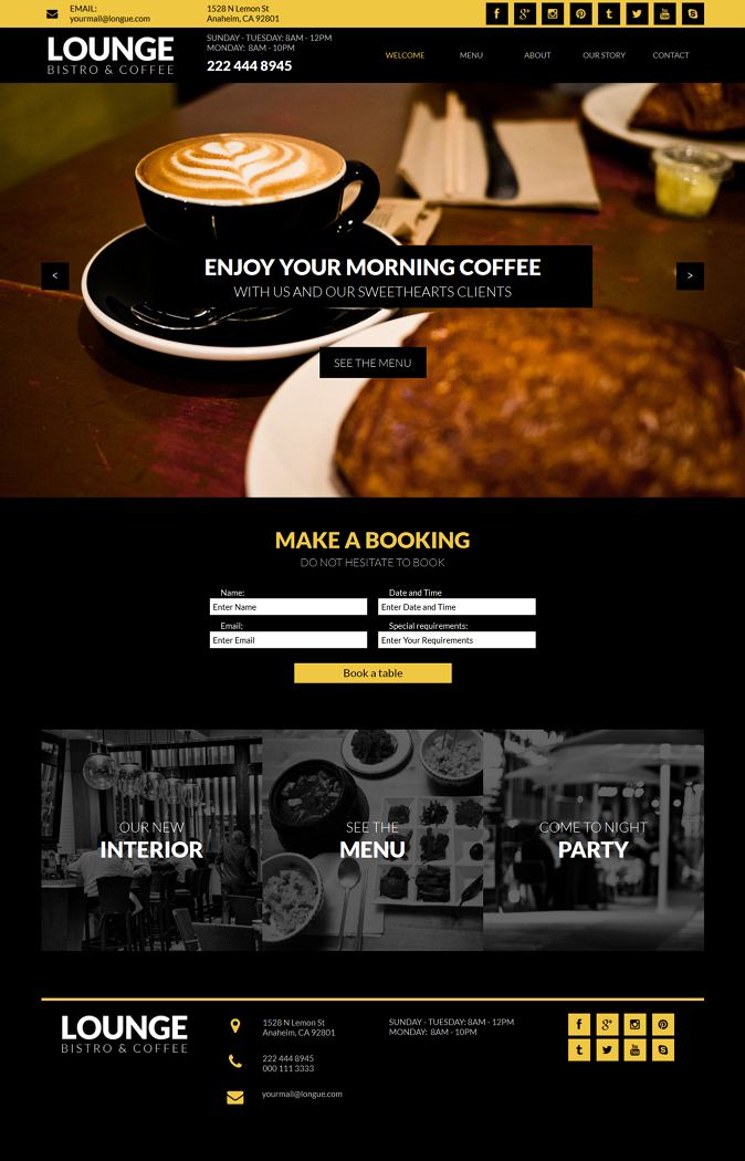 Lounge is multipage Muse Template for restaurants, cafes, bistro or other types of catering busi ...