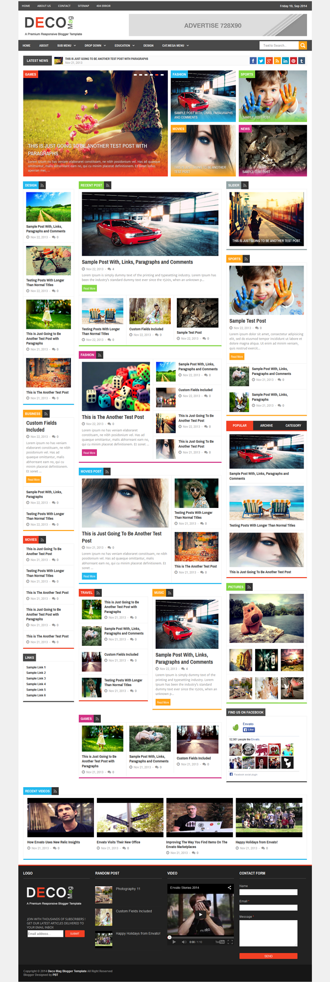 Deco mag blogger template is a another beautiful modern blogger template. its clean and fresh fl ...
