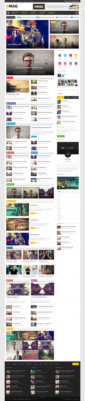 BMAG is a Magazine Responsive Blogger Template, it is clean and compatible with many devices, It ...