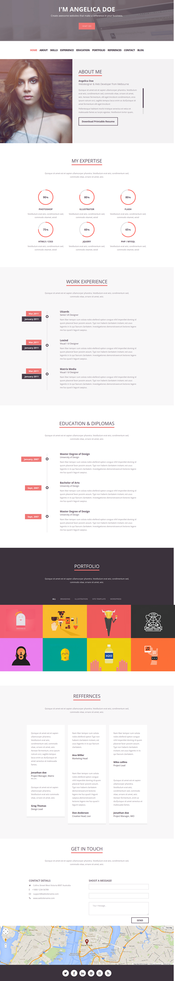 """Folix"" is a Clean, Modern, Flat, Professional & Multipurpose online resume JOOMLA-3.3.3 tem ..."