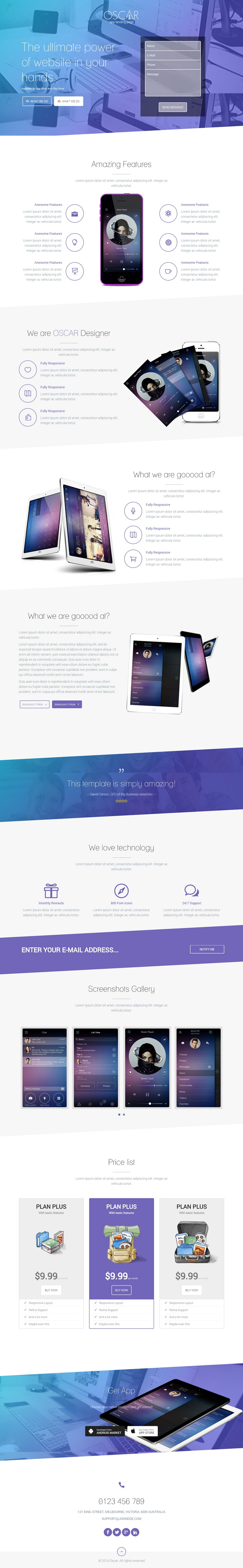 OSCAR is a clean and modern #landingpage #template. This landing page template can be used to pr ...