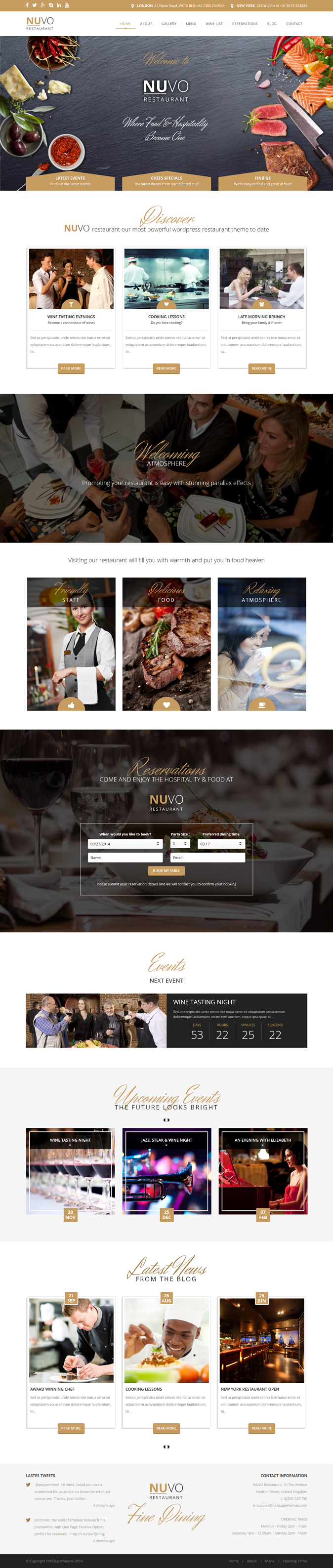 Perfect restaurant, cafe or bistro website responsive  WordPress theme.
