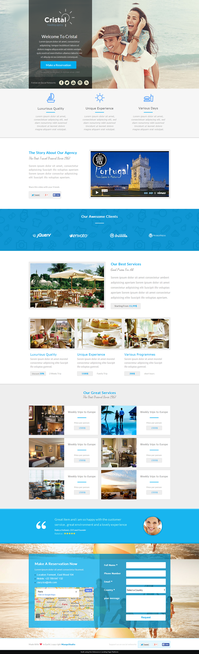 """""""Cristal"""" is a Travel Agency Landing page template for unbounce, include a lots of features, cle ..."""