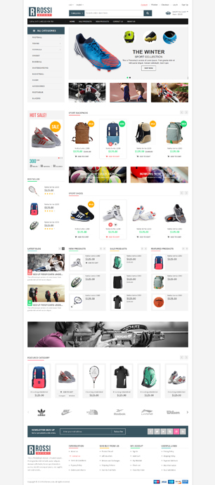 Rossi is an responsive multipurpose Magento theme for your online sport store. When you see this ...