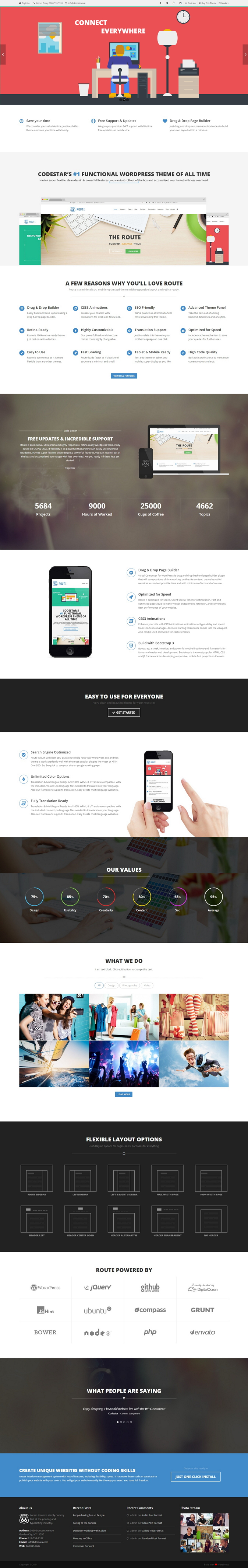 Route is an minimal, ultra premium highly responsive, retina-ready WordPress theme fully based o ...