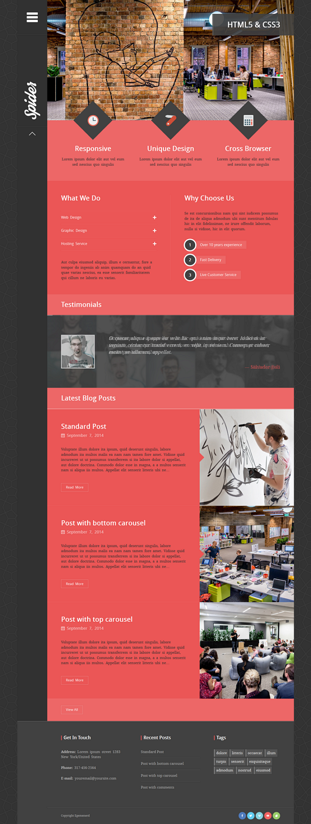 Spider WordPress Theme is a flat, creative portfolio WordPress Theme for agency business or crea ...