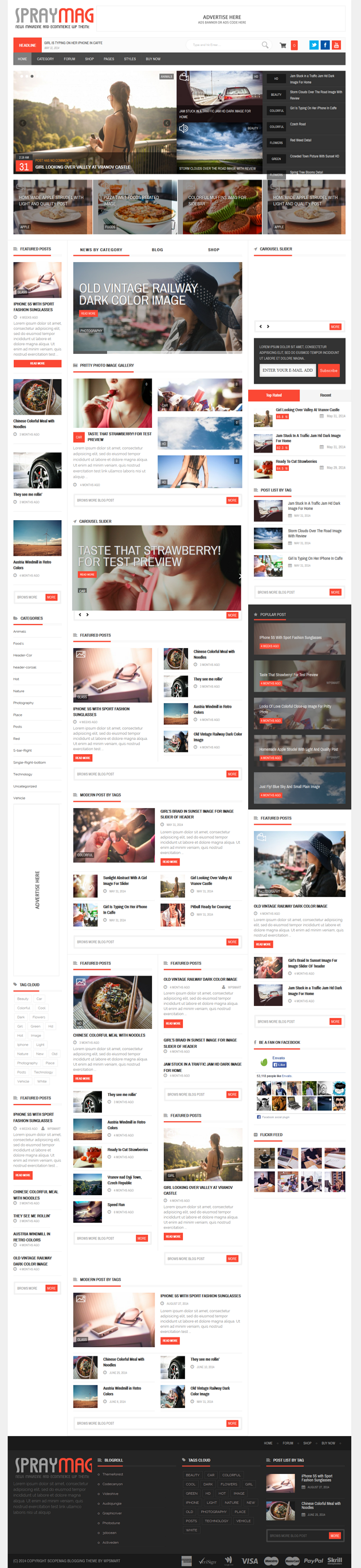Spraymag WordPress Theme Design For Magazine Style WordPress Blog's. Review System, E Commerce S ...