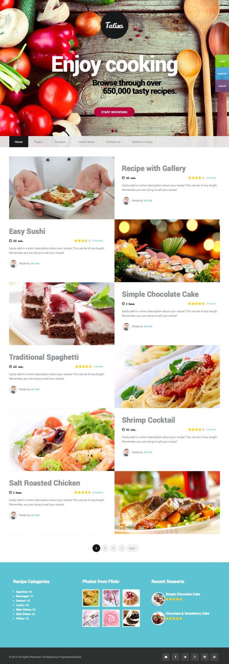 Talisa – Food Recipes WordPress Theme