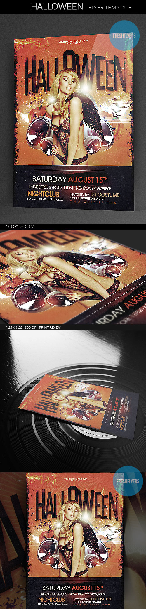 PSD Halloween flyer template. Simple and easy to add your photo and custom text. Design a cool H ...