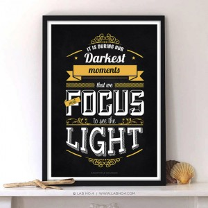 We must focus to see the light by Aristotle Onassis A motivating chalkboard Typography Quote Pos ...