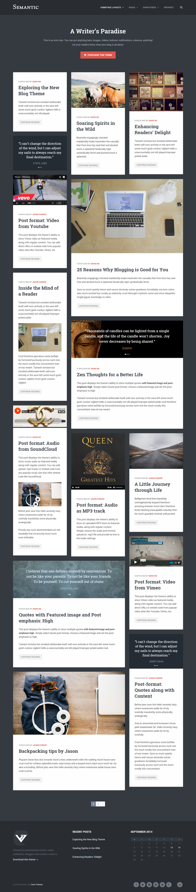Semantic is a trendy and unique WordPress Blog theme for writers, bloggers, online publishers an ...