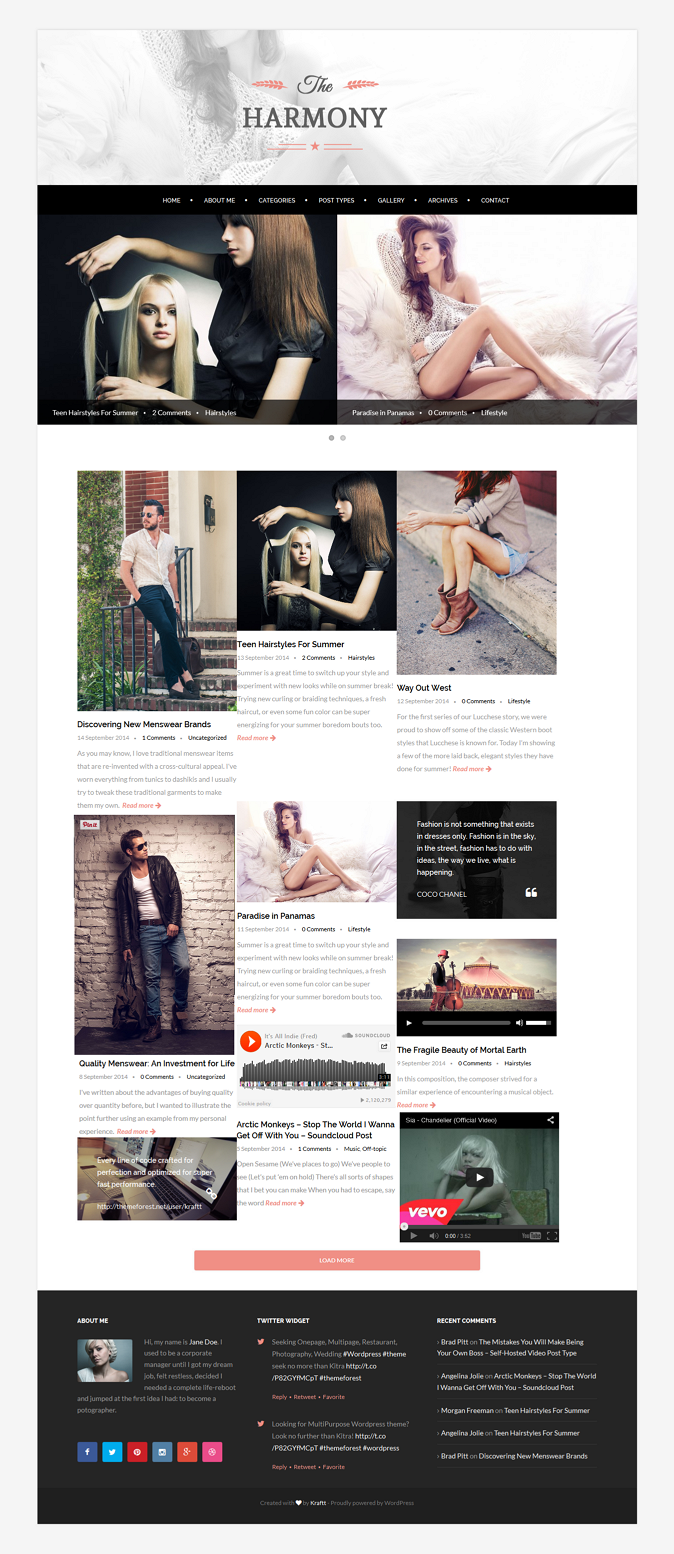 Harmony is an awesome WordPress theme which brings simple & clean design. It's ideal for blo ...
