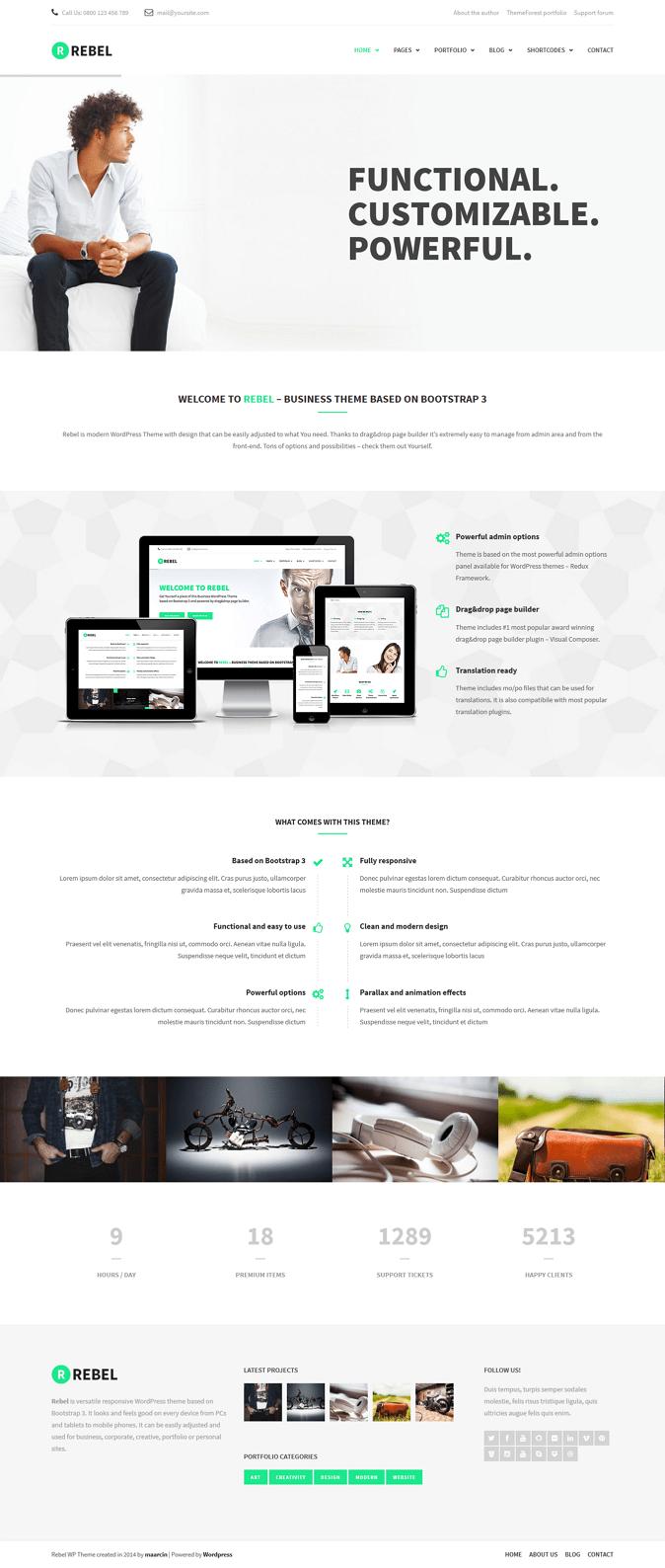 Rebel New WordPress Bootstrap Business Theme