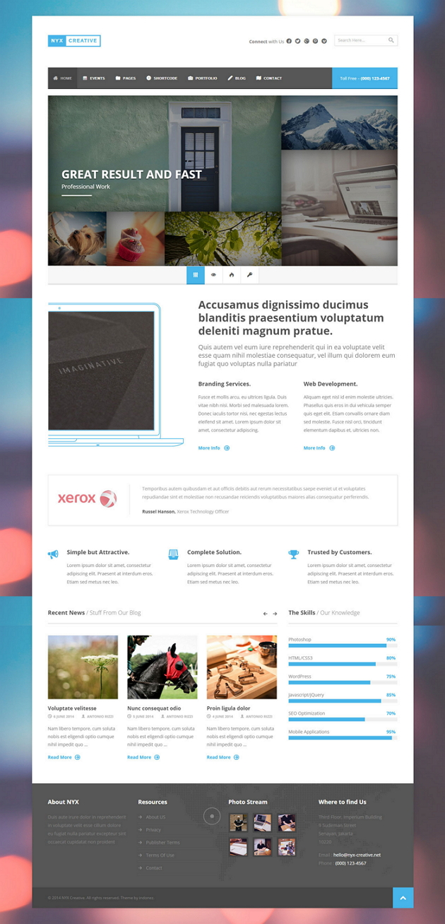 Nyx is an WordPress Theme with Multipurpose design. There are four different home layouts for Co ...